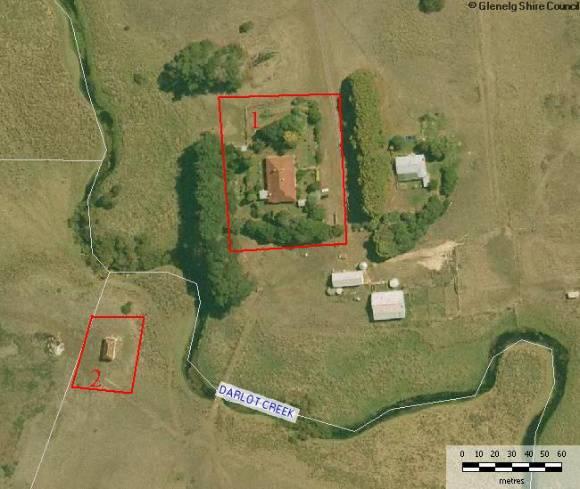 Site Plan - 1) 1860s Homestead  2)FIrst homestead