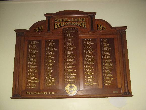 Former Leigh Shire Hall WWI Honour Board