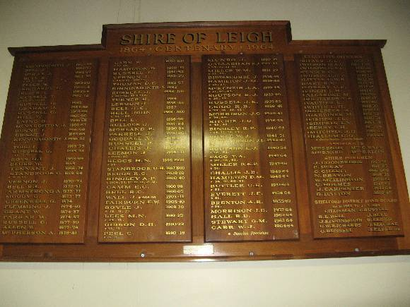 Former Leigh Shire Hall Council honour board