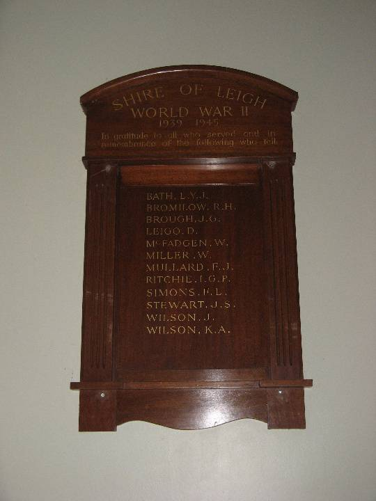 Former Leigh Shire Hall WWII Honour Board